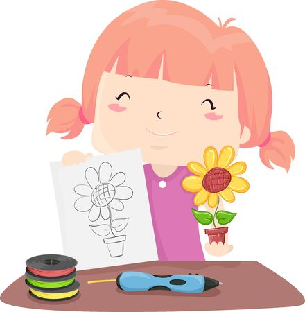 Illustration of a Kid Girl Holding Her Sketch of a Flower and a 3D Print Sample