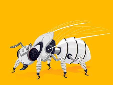 Illustration of a White Bee Robot