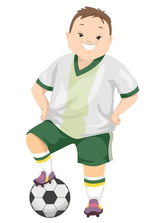 Illustration of a Teenage Guy with Down Syndrome Wearing Uniform with a Soccer Ball