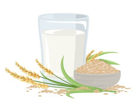 Illustration of a Glass of Rice Milk with Rice Plant and Bowl of Brown Rice