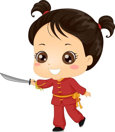 Illustration of a Kid Girl Wearing Uniform and Holding a Sword for Wushu