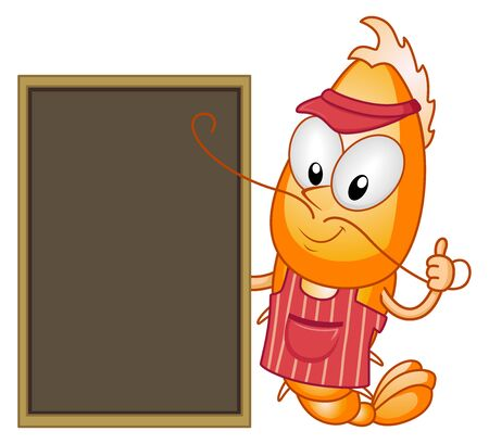 Illustration of a Shrimp Mascot Vendor Wearing Cap and Apron Holding a Black Chalk Board and Okay Sign