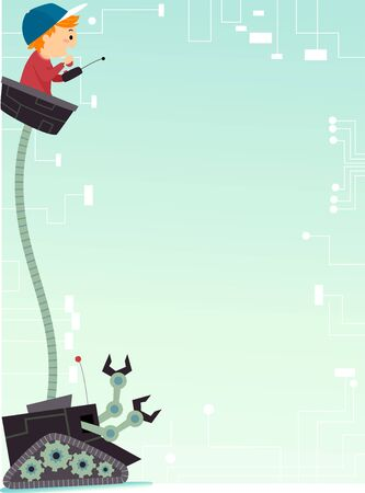 Background Illustration of a Stickman Kid Boy Riding and Controlling a Robot Below 스톡 콘텐츠
