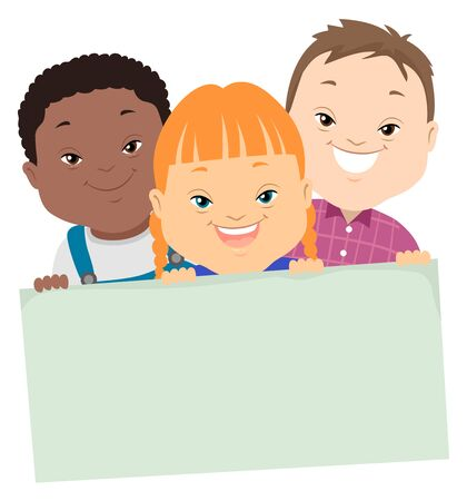 Illustration of Three Kids with Down Syndrome Holding a Blank Board Archivio Fotografico