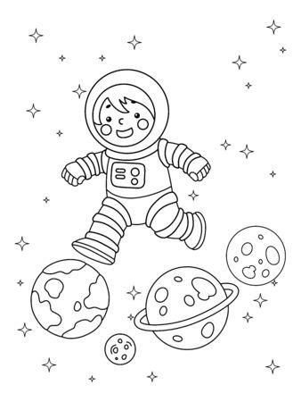 Ilustracja do kolorowania przedstawiająca chłopca lub dziewczynkę w kostiumie astronauty skaczącym z planety na planetę