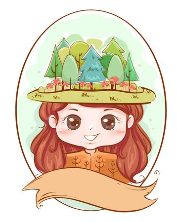 Illustration of a Kid Girl Wearing Woodland Trees as Head Dress with a Blank Ribbon 스톡 콘텐츠
