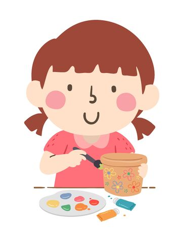 Illustration of a Kid Girl Holding Paint Brush and Painting a Flower Pot