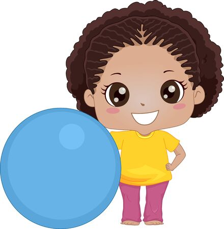 Illustration of an African American Kid Girl with a Big Exercise Ball