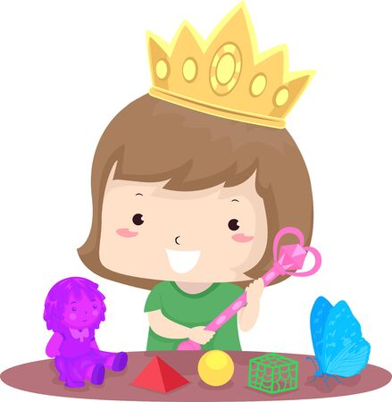 Illustration of a Kid Girl Wearing a Crown and Playing with 3D Toys She Created Stock Photo
