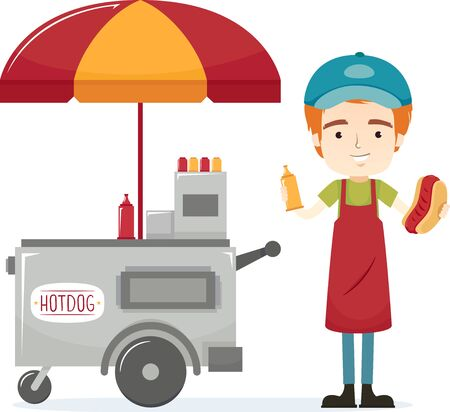 Illustration of a Man Holding Hotdog Sandwich and Mustard Standing Next to His Cart 写真素材
