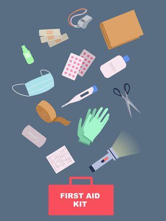 Illustration of a First Aid Kit with Elements like Bandage, Thermometer, Mask, Gloves, Flash Light, Scissors, Pills Reklamní fotografie