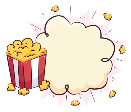 Illustration of a Popcorn on a Box with Popping Blank Board Foto de archivo - 135060233