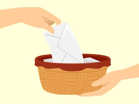 Illustration of a Hand Placing an Envelope Offering in a Basket During Mass