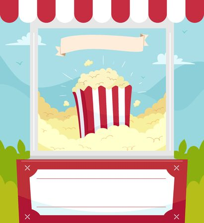 Illustration of a Popcorn Poster with Ribbon and Board Foto de archivo - 135060088