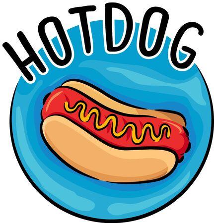 Illustration of a Hotdog Sandwich Icon with Mustard, Hotdog and Bun Foto de archivo - 135060038