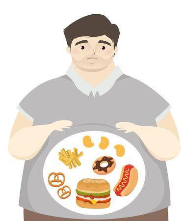 Illustration of a Fat Man with Junk Food in His Tummy from Pretzel, Donut, Chips, Fries, Burger and Hotdog Sandwich 写真素材