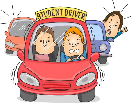 Illustration of a Man Driving a Student Driver Car with Instructor, with Angry Cars Honking Behind