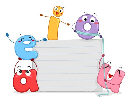 Illustration of Vowel Mascots with Blank Paper Board Banco de Imagens