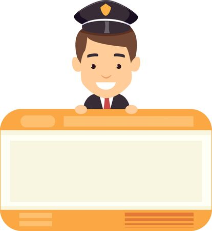 Illustration of a Male Train Crew Holding a Blank Train Ticket and Smiling