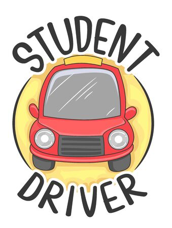 Illustration of a Student Driver with a Red Car Icon