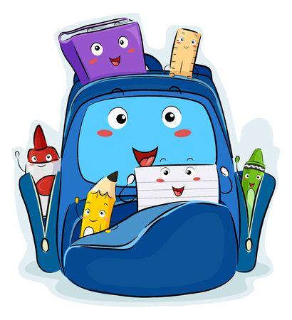 Illustration of a Bag Mascot Full of School Supplies Mascots from Paper, Pencil, Crayon, Book, Ruler to Glue Banco de Imagens