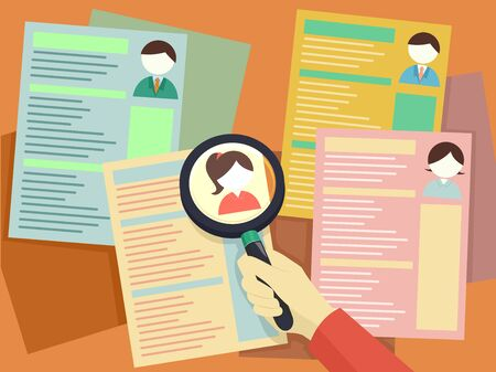 Illustration of a Hand Holding a Magnifying Glass Looking Over Different Resumes