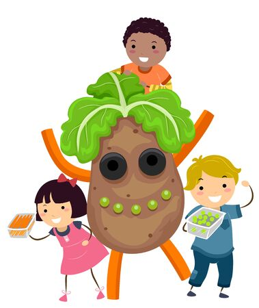 Illustration of Stickman Kids Playing with Potatoes, Carrots, Peas and Leafy Greens to Create a Potato Monster Foto de archivo
