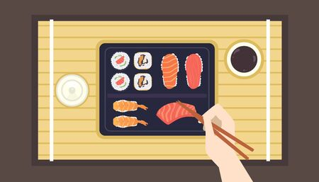 Illustration of a Hand Holding Chopsticks Picking a Piece of Sashimi Banque d'images - 136741944