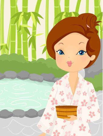 Illustration of a Girl in Yukata Holding a Wooden Bucket in an Outdoor Onsen Bath Stock Photo