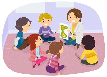 Illustration von Stickman-Kindern, die im Kreis auf dem Boden sitzen und den Arzt für die Gruppenberatung ansehen
