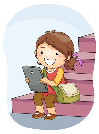Illustration of a Kid Girl Student Using Tablet Computer and Sitting Down the Stairs Reklamní fotografie