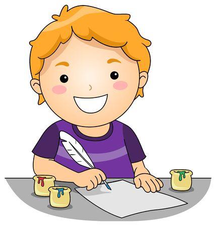 Illustration eines Kinderjungen, der einen Federkiel und farbige Tinte zum Zeichnen verwendet