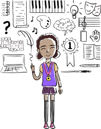 Illustration of a Kid Girl Wearing a Medal with Humanities Focus Doodles from Piano to Quill to Artist Palette