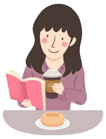 Illustration of a Girl Reading a Book and Holding Coffee with Donut on Plate