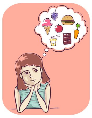Illustration of a Girl Smiling and Thinking about Food from Ice Cream to Carrot to Burger Banco de Imagens