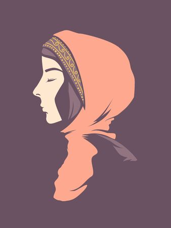 Profile Illustration of a Girl Muslim Wearing Hijab with Eyes Closed Фото со стока - 138039828