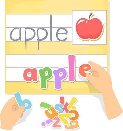 Illustration of Kids Hands Holding Movable Letters in Preschool Answering Apple