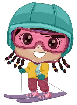 Illustration of an African American Kid Girl Wearing Goggles, Helmet Using Skis and Sticks