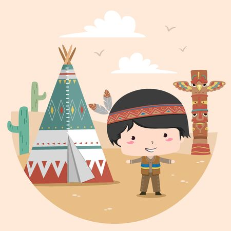 Illustration of a Native American Kid Boy Standing Beside a Tipi with Totem and Cactus at the Back
