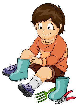 Ilustracja przedstawiająca chłopca zakładającego buty ogrodowe z widelcem i sekatorem na podłodze