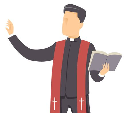 Illustration of a Man Priest Holding a Bible with Hands Up Preaching Stock Photo