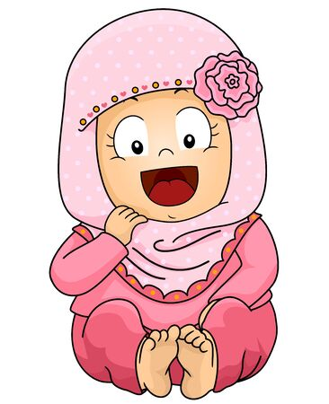 Illustration of a Cute Baby Muslim Girl Wearing Pink Hijab 免版税图像 - 140178668