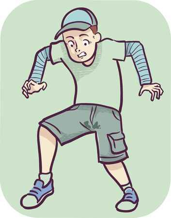 Illustration of a Man Losing Bladder Control with Pee on His Shorts