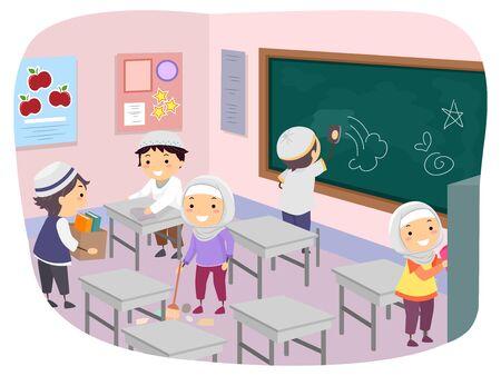 Illustration of Stickman Muslim Kids Cleaning the Classroom 免版税图像