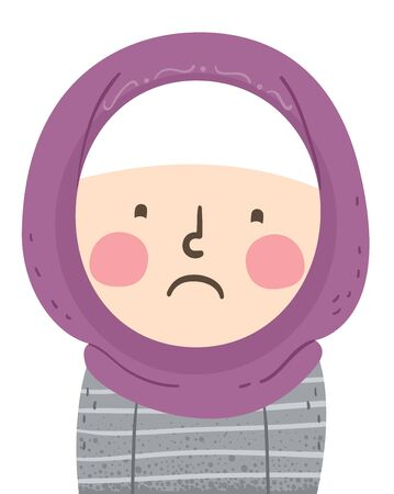 Illustration of a Sad Muslim Kid Girl Wearing Hijab and Expressing Her Sadness 免版税图像 - 140162108