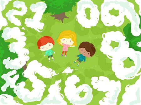 Illustration of Kids Lying Down the Grasses Outdoors Looking Up at the Clouds Shaped as Numbers Reklamní fotografie - 140162032