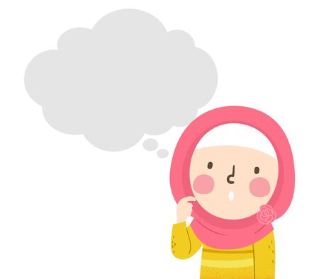 Illustration of a Muslim Kid Girl Scratching Her Cheek and Looking Up at the Blank Thinking Cloud 免版税图像 - 140161985