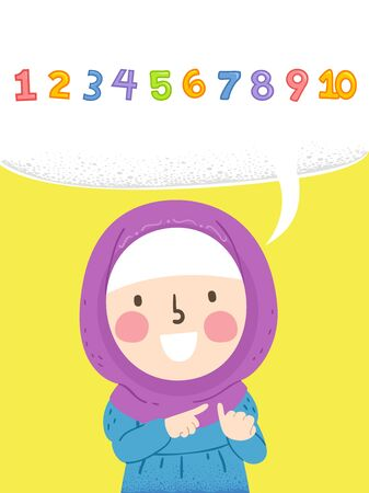 Illustration of a Muslim Kid Girl Wearing Hijab and Counting Fingers with Speech Bubbles with Numbers One to Ten Reklamní fotografie - 140162107