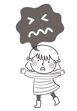 Illustration of a Kid Girl Doodle Expressing Fear with a Gray and Dark Speech Bubble Forming a Scared Facial Expression