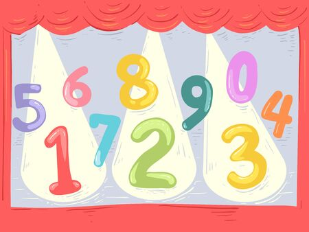 Illustration of Numbers from Zero to Nine on Stage with Spotlight